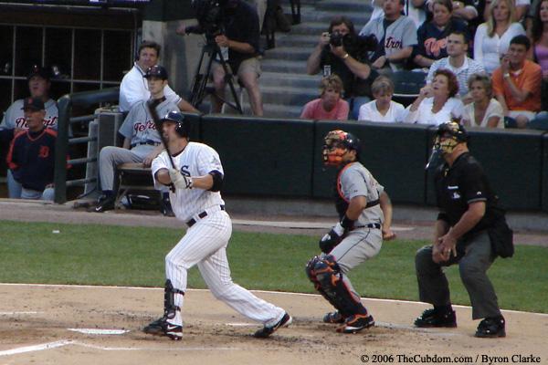 Paul Konerko drives one to left field