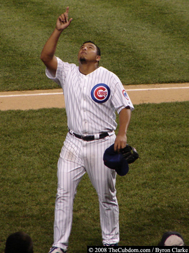 Carlos Zambrano points upward