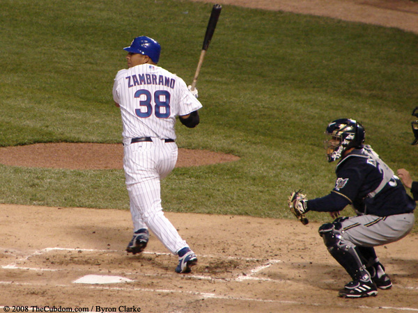 Carlos Zambrano at bat, Johnny Estrada catching