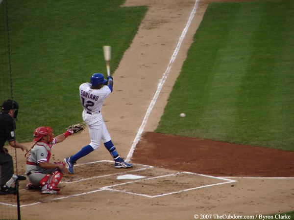 Alfonso Soriano hits a grounder