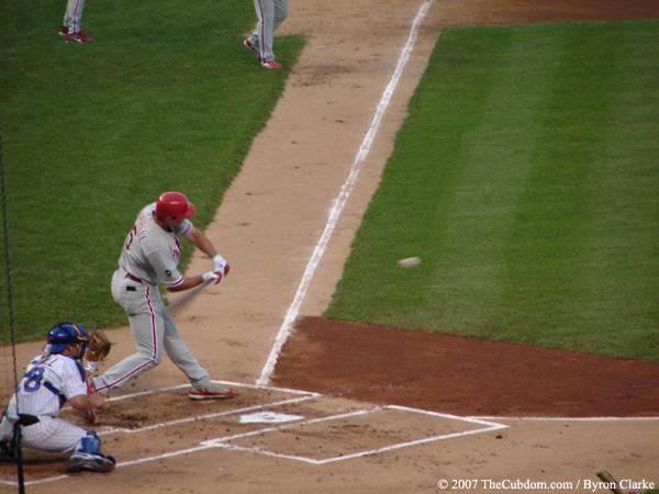Pat Burrell swinging at a strike
