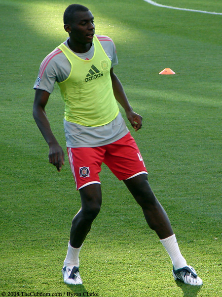 Bakary Soumare in warm-up penny