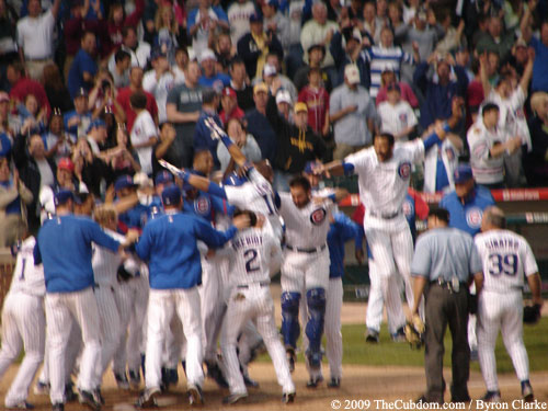 The Cubs Celebrate at Home plate